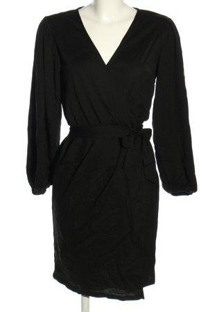 Edited Robe portefeuille noir style décontracté