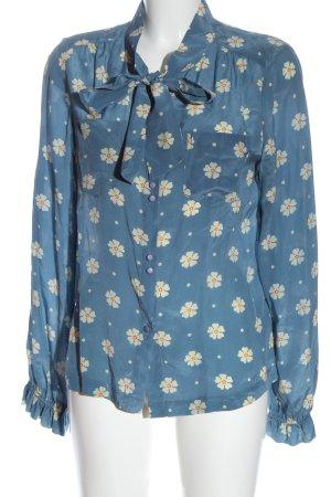 Edith & Ella Silk Blouse blue-white allover print casual look