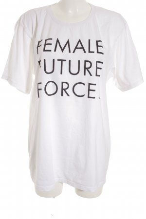 Edition F T-Shirt wollweiß-schwarz Schriftzug gedruckt Casual-Look