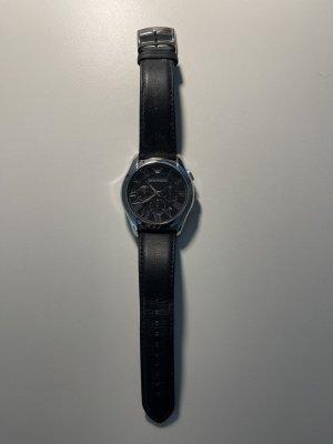 Armani Zegarek ze skórzanym paskiem czarny-srebrny Skóra