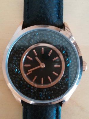 Tchibo / TCM Horloge met lederen riempje zwart-goud