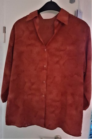 Bluzka ze stójką rudy Tkanina z mieszanych włókien