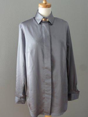 Nadine H. Blusa brillante color plata-gris claro Poliéster