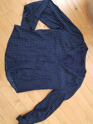 Edle Bluse v. Zara, gr. M 36 blau zart gepunktet