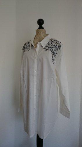 Sara Lindholm Shirt Blouse white-dark blue cotton
