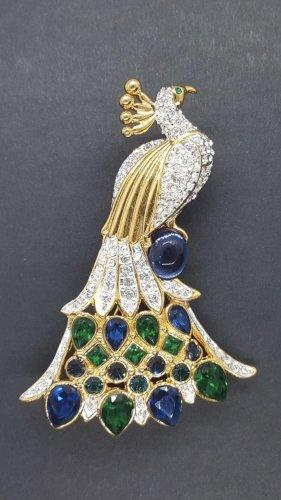 Edle Brosche Pfau gold Strass mit Kristallen bunt grün blau