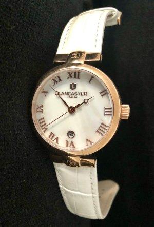 LANCASTER Montre avec bracelet en cuir blanc-or rose