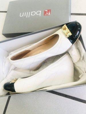Edle Damen Schuhe Wedge weiß Leder mit zweifarbig two-tone