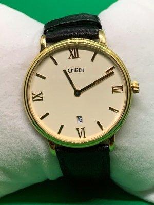 Christ Horloge met lederen riempje goud-zwart