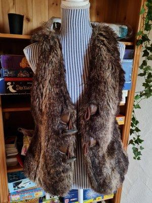 Tom Tailor Fur vest brown
