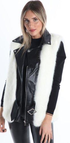 Made in Italy Fur vest black-white
