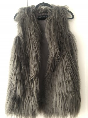 Zara Woman Fake Fur Vest grey