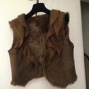 Stefanel Fur vest brown