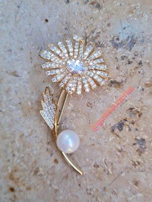 edle funkelnde luxus Brosche Blume goldfarben mit Zirkonia und Perle