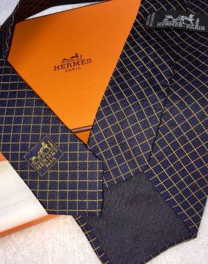 Hermès Szal krawatowy złoto-ciemnoniebieski