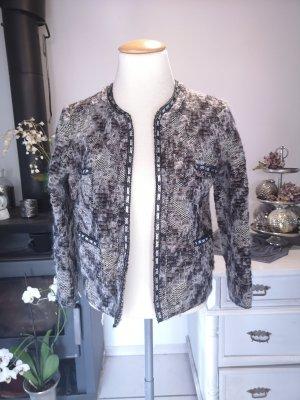 Edle Jacke von Zara Knit mit Pailetten bestickt Gr S Jäckchen elegant kariert bestickt Wolljacke ähnlich Chanel