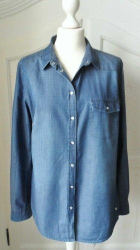 edle Jeans Bluse Gr. 40 mit feinen Punkten wenig getragen