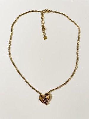 Edle Kette von Nina Ricci - vergoldet - Herz-Anhänger mit Stein