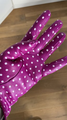 Rękawiczki skórzane fioletowy-biały