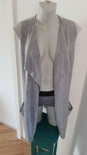 Coercion Gilet long tricoté gris clair-vert menthe laine