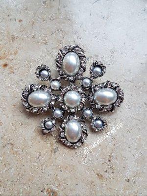 edle luxus Brosche mit Strass und Perlen silberfarben Vintage