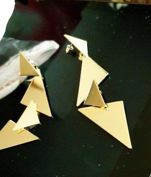 Edle Luxus Ohrringe,  vergoldet,  Damenschmuck,  11cm