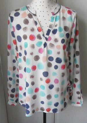 edle Milano Italy Bluse Gr. 36 aus Seide und Viscose Weiß mit bunten Dots