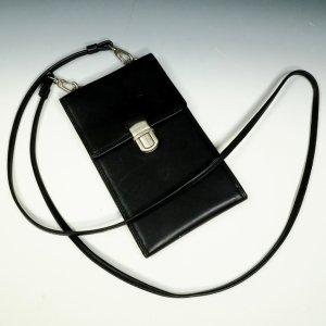 Edle Mini-Schultertasche Unisex Geldtasche Kartentasche Claudio Ferrici Leder schwarz