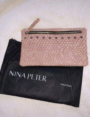 Edle Nina Peter Clutch Leder Tasche Gr S in rosa
