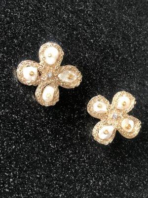 Edle Ohrringe Echte Perlen 925 Silber Golddraht Blume Clover Vierblatt