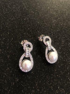 Edle Ohrringe klassisch Echte Perlen Kristalle Zirkonia 925 Silber