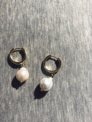 Eco jewelry Kolczyk z perłą złoto-biały