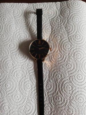 Oozoo Horloge met lederen riempje zwart-roségoud