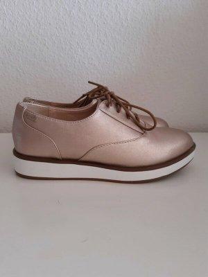 mtng. Zapatos brogue color rosa dorado tejido mezclado