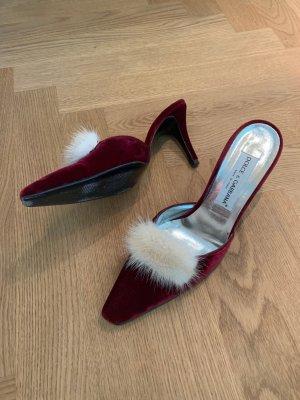 edle Samtpantoletten mit Fell Besatz von Dolce Gabbana