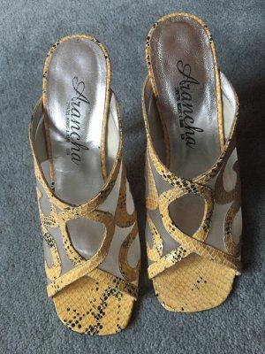 Edle Sandalen, Sandaletten aus Leder, Gr.37, Schlangenledermuster