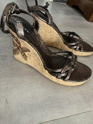 Cross Wedge Sandals brown-dark brown