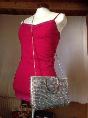 Edle silberne Tasche, Clutch, Metall Pallietten für die Abendgarderobe, Party