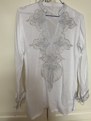 Handmade Tunic Blouse white-silver-colored