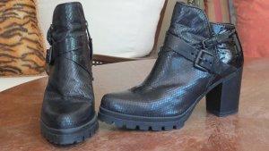 Platform Booties black leather