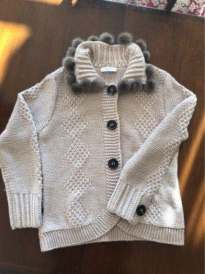 Nice collection Veste tricotée en grosses mailles crème laine