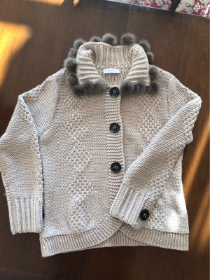 Nice collection Cardigan a maglia grossa crema Lana