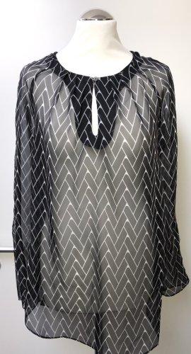 edle transparente Bluse v. ZOA New York, Gr. L, schwarz-weiß, Neu