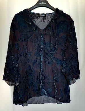 Tuzzi Blusa trasparente nero-petrolio