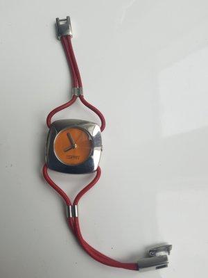 Esprit Horloge met lederen riempje zilver-donkerrood