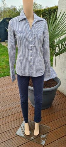 van Laack Blusa de cuello alto blanco-azul oscuro