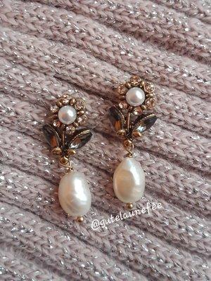 edle vintage Ohrringe antikgoldfarben mit echten Barock Perlen und Zirkonia Steinen