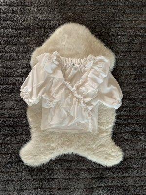 Edle weiße Rüschen Bluse