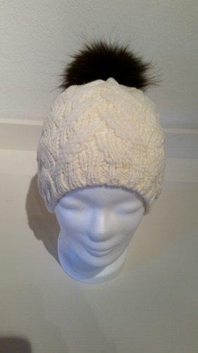 Bonnet à pompon blanc-brun noir laine