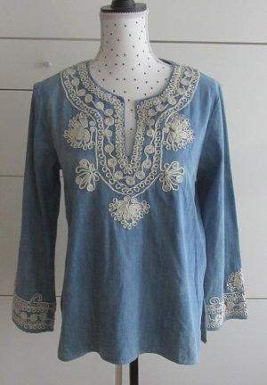 edle Zara Jeans Tunika Gr. M Blau Weiß
